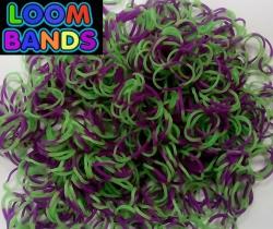 Полосатые резиночки зеленые с фиолетовым Loom Bands (600шт)