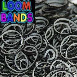 Двухцветные резиночки (чёрные с белым) Loom Bands (600шт)