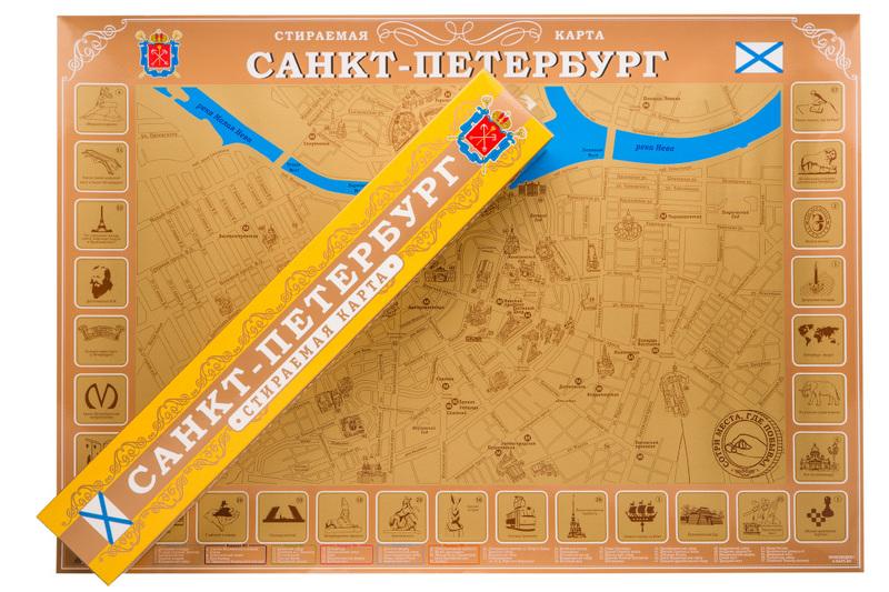 """Скретч-карта """"Санкт-Петербург"""" в картонном тубусе"""