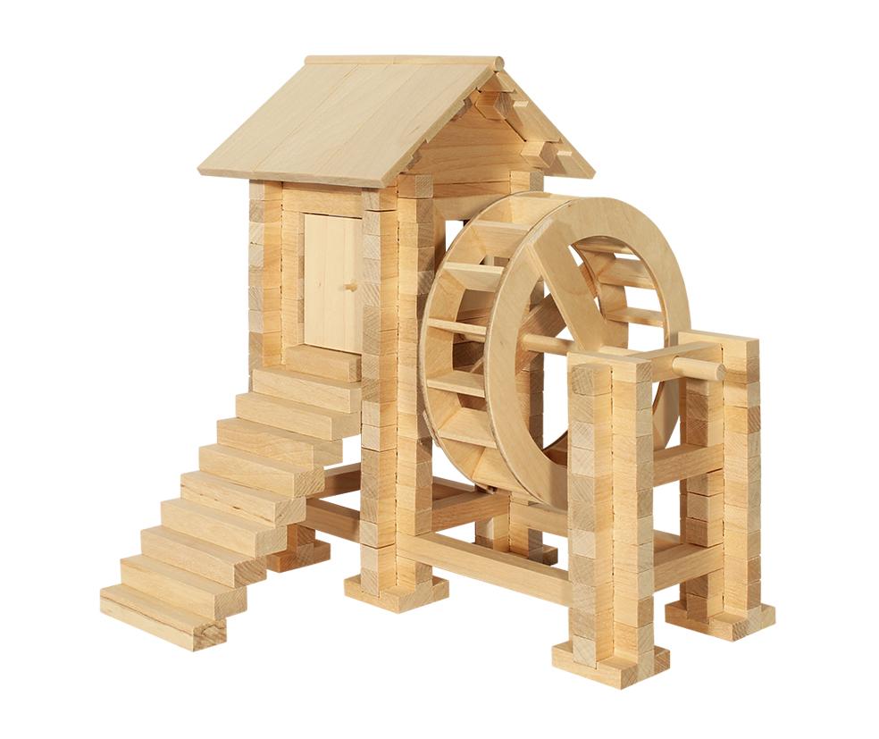 Деревянный конструктор Водяная мельница 194 детали