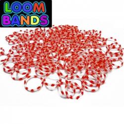 Полосатые резиночки бело-красные (600шт)