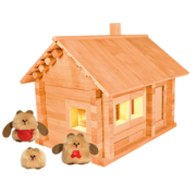 """Деревянный конструктор """"Избушка Три медведя с куклами"""", 138 деталей"""