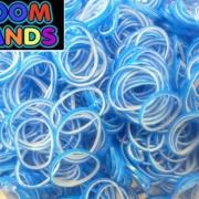 Двухцветные резиночки (синие с белым) Loom bands (600 шт.)