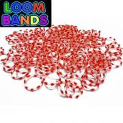 Двухцветные (бело-красные) резиночки (600шт)